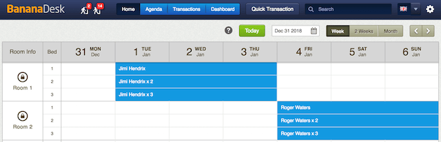 Image of BananaDesk Reservations Calendar with bookings